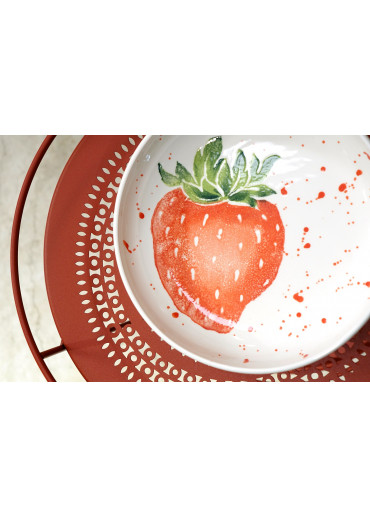 Grün und Form Schale mit Erdbeere