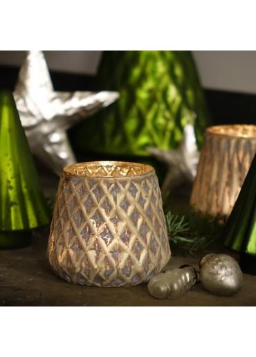 """Grün & Form Windlicht """"Wabe"""" champagner mattiert Ø9,5 cm"""