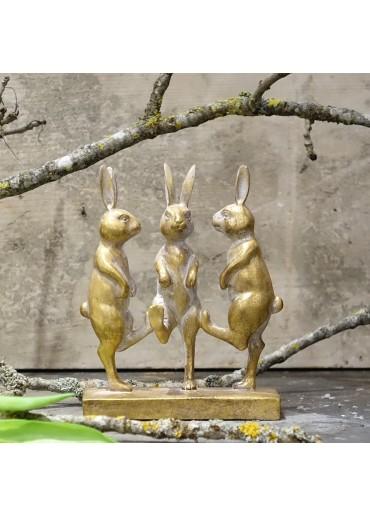 Hasenparade klein mit Goldglam H17,5 cm