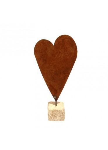 Rostige Herz Tafel auf Naturstein | blanko