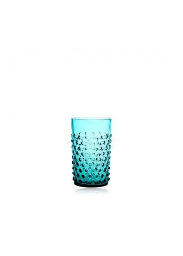 Mundgeblasenes Trinkglas mit Noppen türkis