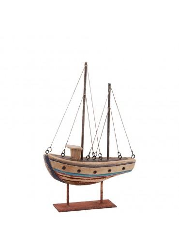 Deko Fischerboot aus rustikalem Holz auf Platte klein H23 cm