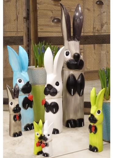 Holz Hase mit langen Ohren weiß XS H10 cm