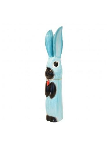 Holz Hase mit langen Ohren türkis L H52 cm