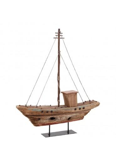Segelboot aus rustikalem Holz auf Platte