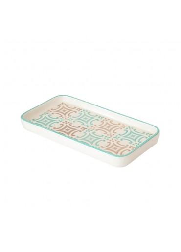 "Vista Portuguese Keramik Platte rechteckig ""Mosaik türkis"" medium"