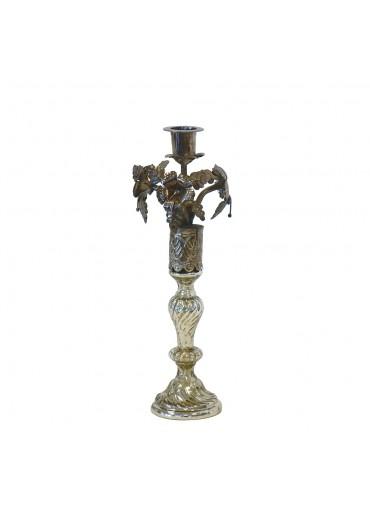 """Nostalgie Kerzenständer """"Marrone"""" H31 cm smoked silver"""