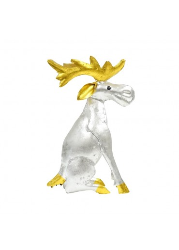 Metall Elch Kerzenständer silber/gold H26,5 cm