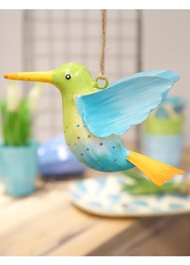 Metall Kolibri groß hellgrün-hellblau mit blauem Flügel