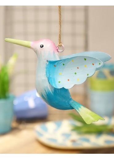Metall Kolibri groß hellrosa-hellblau