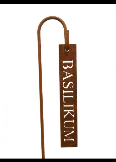 """Rostiges Kräuterschild """"Basilikum"""" mit Stecker H60"""