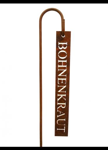 """Rostiges Kräuterschild """"Bohnenkraut"""" mit Stecker H60"""