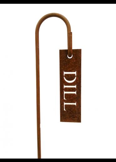 """Rostiges Kräuterschild """"Dill"""" mit Stecker H60"""