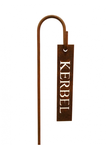 """Rostiges Kräuterschild """"Kerbel"""" mit Stecker H40"""