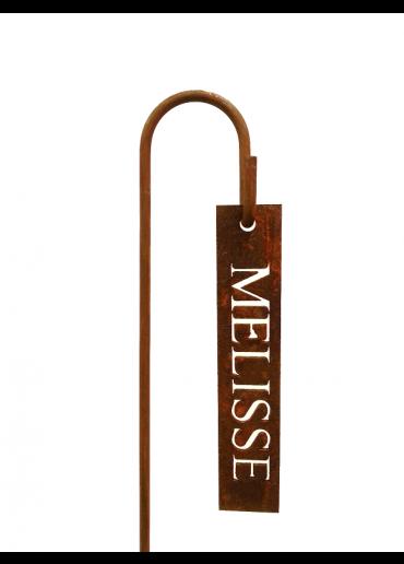 """Rostiges Kräuterschild """"Melisse"""" mit Stecker H60"""