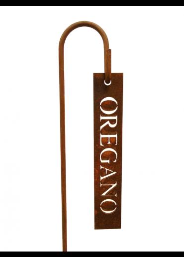 """Rostiges Kräuterschild """"Oregano"""" mit Stecker H40"""