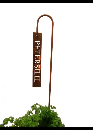 """Rostiges Kräuterschild """"Petersilie"""" mit Stecker H60"""