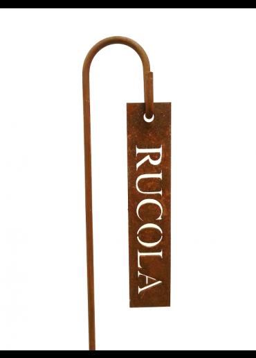 """Rostiges Kräuterschild """"Rucola"""" mit Stecker H40"""