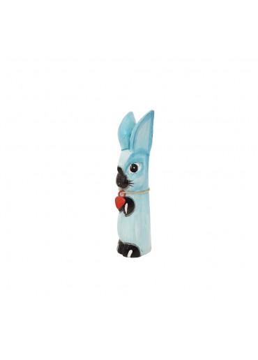 Holz Hase mit langen Ohren türkis S H20 cm