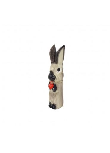 Holz Hase mit langen Ohren grau S H20 cm