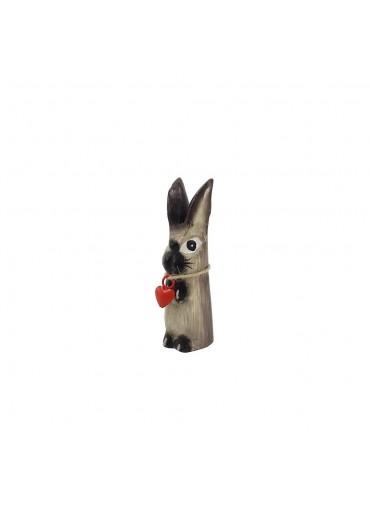 Holz Hase mit langen Ohren grau XS H10 cm