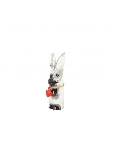 Holz Hase mit langen Ohren silbern XS H  10 cm