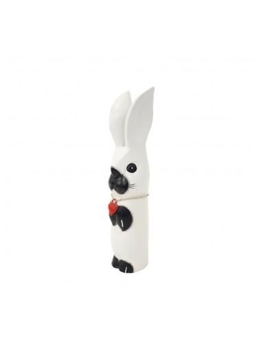 Holz Hase mit langen Ohren weiß M H34 cm