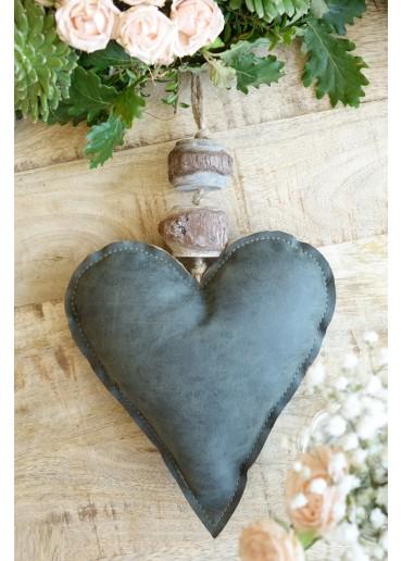 Leder Herz dunkelgrau-blau zum Hängen H20 cm