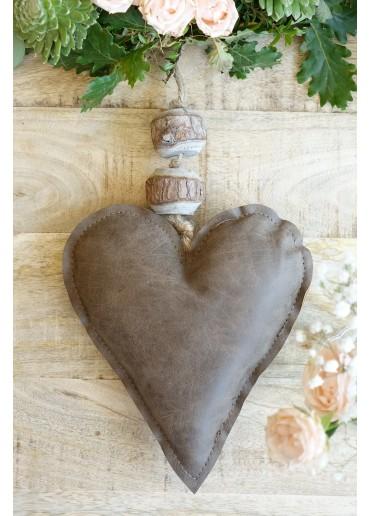 Leder Herz braun zum Hängen H20 cm