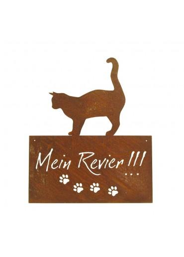 """Edelrost Katzenschild """"Mein Revier"""" H42 cm zum Aufhängen"""