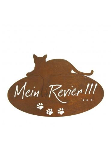 """Edelrost Katzenschild """"Mein Revier"""" oval zum Aufhängen"""