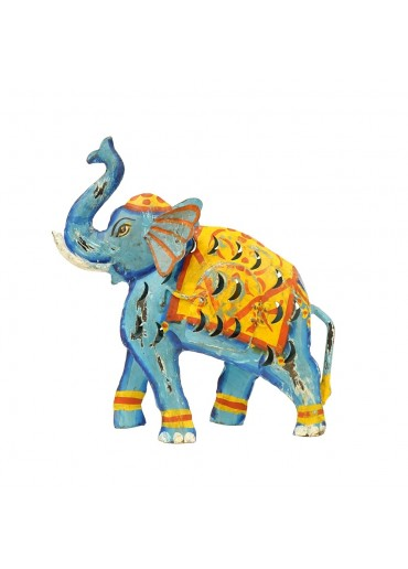 Metall Elefant Laterne M blau Shabby Chic H 32 cm
