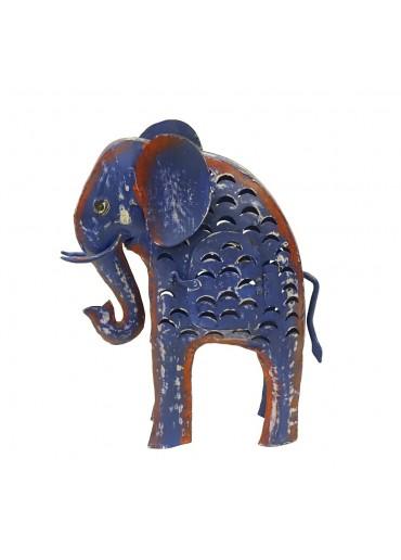 Metall Elefant Laterne L dunkelblau-violett H 41 cm
