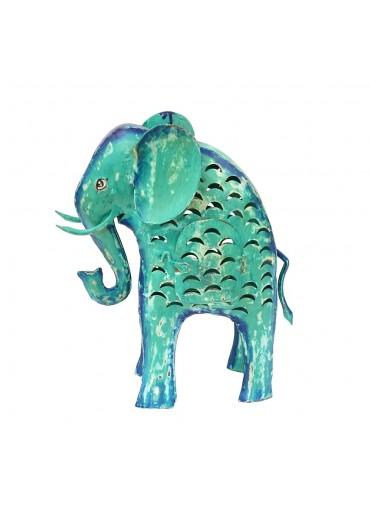 Metall Elefant Laterne L türkis-grün H 41 cm