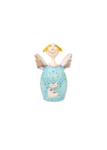 Engel Lotta S zum Stellen hellblau mit silber