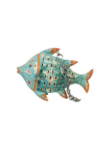 Metall Fisch zum Hängen S türkis