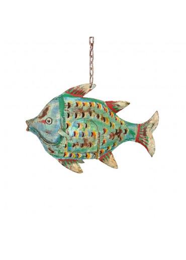 Metall Fisch Windlicht grün antik
