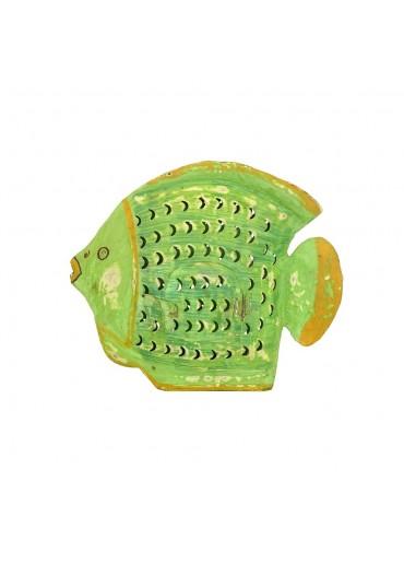 Grün & Form Metall Fisch Laterne mittel-groß grün H27 cm