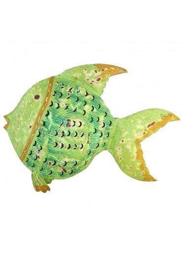 """Metall Fisch Laterne """"Flossenfisch"""" groß grün"""