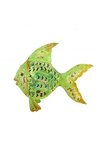 "Metall Fisch Laterne ""Flossenfisch"" mittel grün"