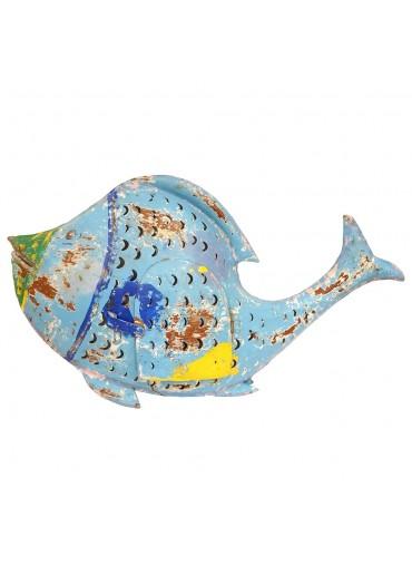 """Metall Fisch Laterne """"Fin"""" L blau"""