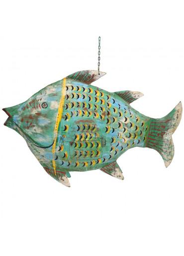 Große Metall Fisch Laterne anik grün
