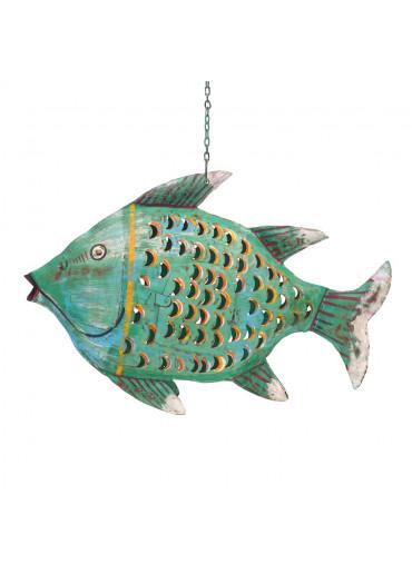 Metall Fisch Laterne L grün antik