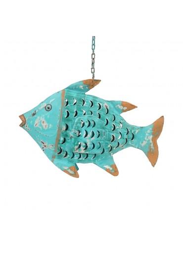 Metall Fisch M türkis zum Hängen und Stellen