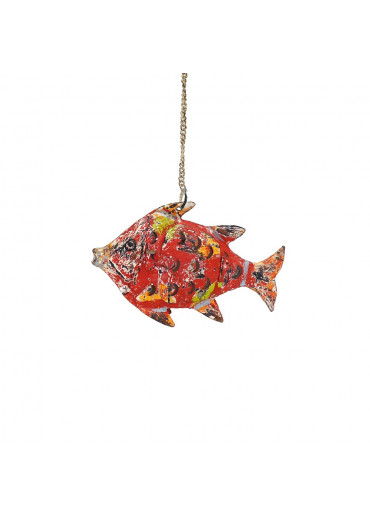 Fisch Metall XS rot zum Hängen und Stellen