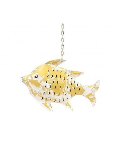 Metall Fisch Laterne S weiß gold