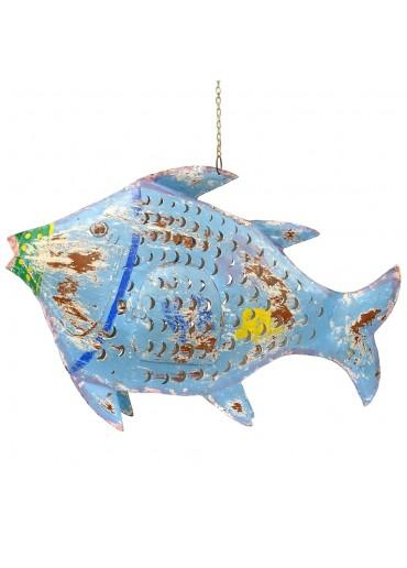 Fisch Metall XXL blau zum Hängen und Stellen