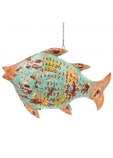 Fisch Metall XXL türkis-grün zum Hängen und Stellen