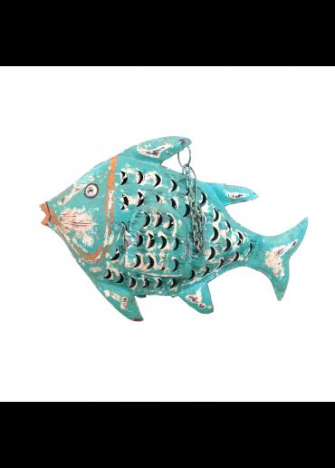 Metall Fisch zum Hängen groß türkis