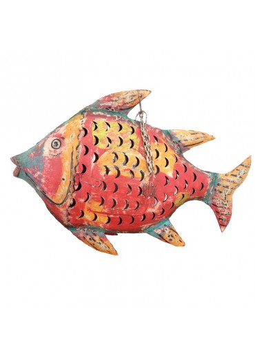 Fisch Metall zum Hängen L rot